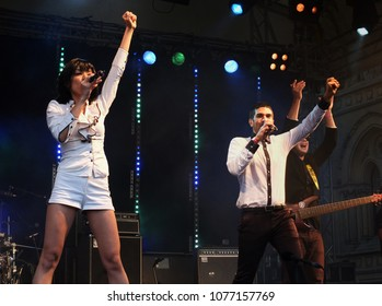 Bradford, England - July 29 2017: The band Ska Vengers performing on stage at bradford festival