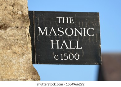 Bradford on Avon - January 21, 2017: A Masonic lodge sign is seen on a town centre street. Freemasons opened the first Grand Lodge in London circa 1700, and Freemasonry has since spread worldwide.