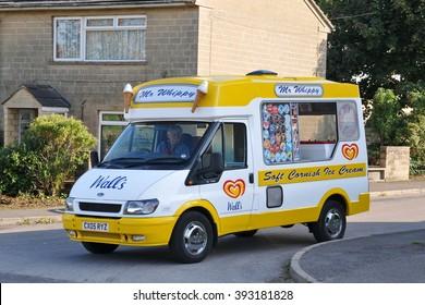 BRADFORD ON AVON, UK - AUG 27, 2010: A Mr Whippy ice cream van drives on a street.