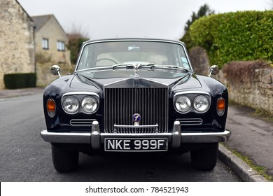 Bradford on Avon, UK - December 30, 2017: A vintage 1968 Rolls Royce Silver Shadow sits parked on a town street.