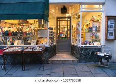 Bradford on Avon, UK - January 12, 2018: A book shop is seen on a town centre street.