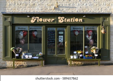Bradford on Avon, UK - January 21, 2017: Exterior view of a florist in the town centre. The Wiltshire town is seeing a business boom with new retail outlets ranging from flower shops to restaurants.