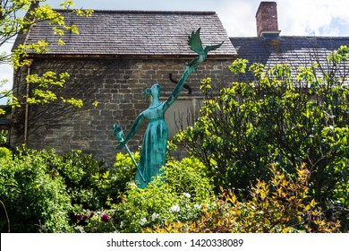 """Bradford on Avon Wiltshire May 21st 2019 """"Millie"""" the millenium statue in the centre of town"""