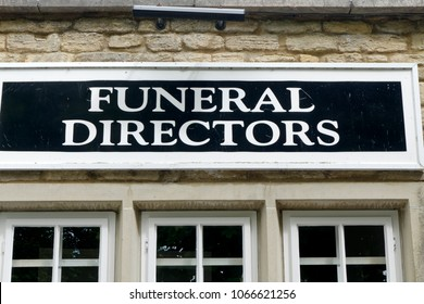 Bradford on Avon, Wiltshire, UK - July 15, 2014: A Funeral Directors Sign above an undertakers