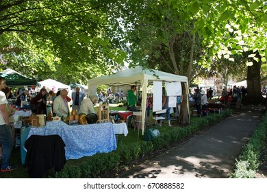 Bradford on Avon, Wiltshire, UK, 1st July 2017 - an open air market with bric a brac and craft stalls with stallholders selling their wares and visitors browsing in the historic Wiltshire market town.