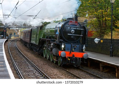 Bradford,West Yorkshire,/England-October 3rd 2009: New steam locomotive A1 Tornado 60163 passing through Saltaire station on route to Carlisle