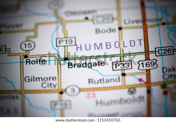 Bradgate. Iowa. USA on a map