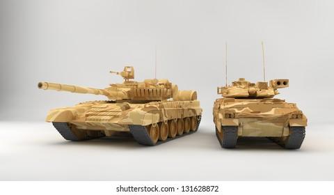 Bradley APC and T-80 tank