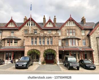BRAEMAR, SCOTLAND - APRIL 12, 2019: Exterior view of The Fife Arms Hotel in Braemar, Aberdeenshire, UK.