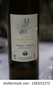 Braga, Bom Jesus, Minho area, Europe / Portugal - June 6, 2018: Restaurante Central do Bom Jesus, branded wine bottle with logo label