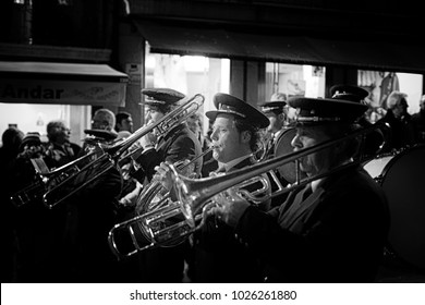 Braga, Portugal - April 1, 2010: Brass band playing during the religious procession of the Ecce Homo, Holy Week