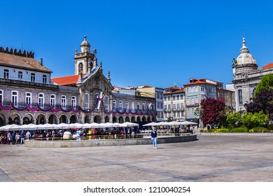 BRAGA, PORTUGAL - APRIL 17, 2017: Braga Medieval Republic Square (Praca da Republica) is commonly known as Arcade due to arches originally dating from 16th century. Square is prettiest part of city.