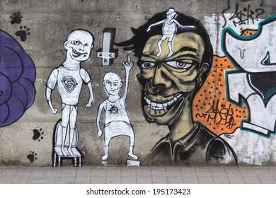 Braga, Portugal - August 23, 2011 - Urban Graffiti Background