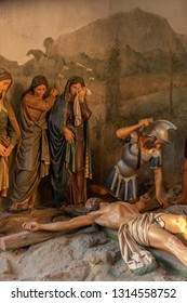 BRAGA, PORTUGAL - CIRCA FEBRUARY 2019: Statue representig Jesus Crucifixion in Sanctuary of Bom Jesus do Monte (also known as Sanctuary of Bom Jesus de Braga).