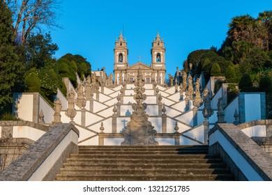 BRAGA, PORTUGAL - CIRCA FEBRUARY 2019: Sanctuary of Bom Jesus do Monte (also known as Sanctuary of Bom Jesus de Braga) is located in Tenoes parish, in the city, county and district of Braga, Portugal.