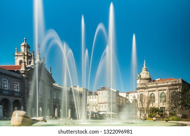 BRAGA, PORTUGAL - CIRCA FEBRUARY 2019: Fountains at Medieval Republic Square or Praca da Republica known as Arcade. Braga urban cityscape, one of the oldest cities of Portugal.