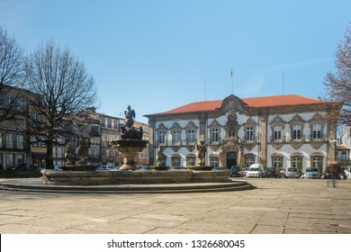 BRAGA, PORTUGAL - CIRCA FEBRUARY 2019: Fountain in Praca do Municipio or Town Hall Square in Braga downtown, North of Portugal. Braga urban cityscape, one of the oldest cities of Portugal.