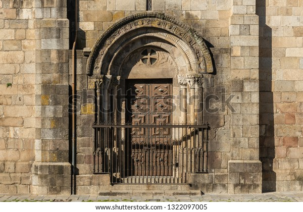 BRAGA, PORTUGAL - CIRCA FEBRUARY 2019: Braga Cathedral door architectural detail. Se de Braga is the oldest cathedral in Portugal, Europe. Braga urban cityscape.