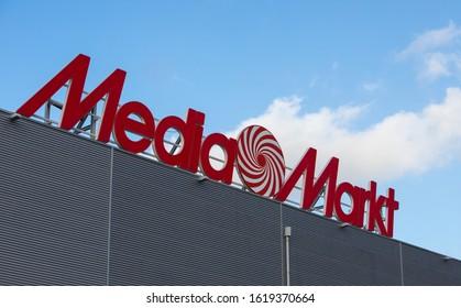 Braga, Portugal - January 18, 2020: MediaMarkt logo in Braga, MediaMarkt is a german multinational chain of stores