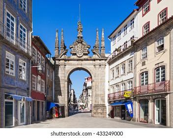 BRAGA, PORTUGAL - JULY 11: The Arch of Rua Souto, commonly referred as the Arco da Porta Nova, an 18th-century ceremonial arch on July 11, 2014 in Braga, Portugal