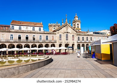 BRAGA, PORTUGAL - JULY 12: Republic square (Praca da Republica) in the city center on July 12, 2014 in Braga, Portugal.