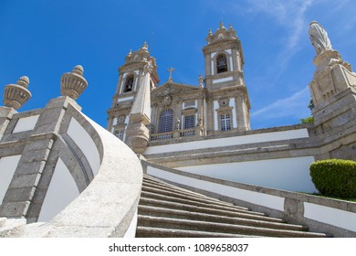 BRAGA, PORTUGAL - JUNE 19, 2016: Stairway view on facade of Bom Jesus Do Monte, church and sanctuary in Braga, Portugal