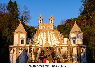 Braga, Portugal - March 18, 2018: Sanctuary of Bom Jesus do Monte (also known as Sanctuary of Bom Jesus de Braga) is located in Tenões parish, in the city, county and district of Braga, Portugal.