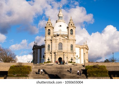 Braga, Portugal - March 18, 2018: Sanctuary of Our Lady of Sameiro (or Sanctuary of Sameiro or Immaculate Conception of Monte Sameiro) is a Marian sanctuary located in Braga, Portugal.