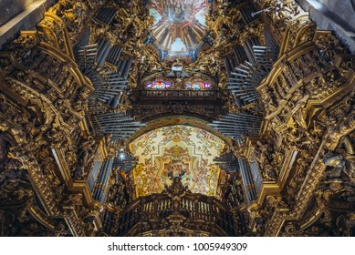 Braga, Portugal - November 15, 2017: Organ in Se Cathedral of Braga city, Norte region of Portugal