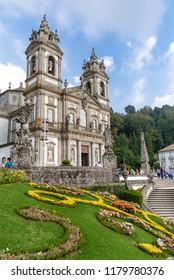Braga, Portugal - October 6, 2017: Bom Jesus do Monte Sanctuary. One of the most famous Portuguese sanctuaries and city landmark. Baroque architecture.