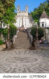 Braga, Portugal - October 6, 2017: Bom Jesus do Monte Sanctuary and the famous staircase. Popular Portuguese sanctuary and city landmark. Baroque architecture.