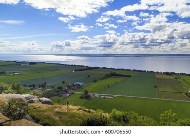 BRAGEHUS, SWEDEN - JUNE 28, 2014: This is aerial view of the countryside near the lake Vettern. - Shutterstock ID 600706550