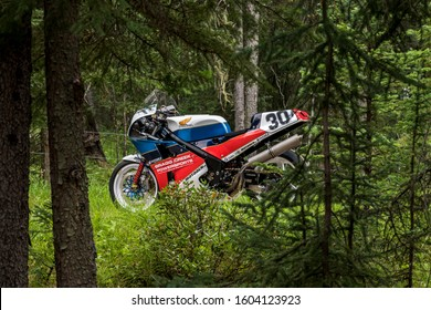 Bragg Creek, Alberta, Canada.  August 10th 2018. The Bragg Creek Powersports Honda  RC30. The bike finished 16th in 2018 and followed up with 13th place in 2018 at the isle of man classic TT races.