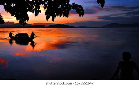The Brahmaputra river of Assam in different hues and colours.