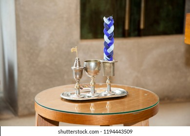 Braided Blue and White Havdalah Candle and Kiddush Cup