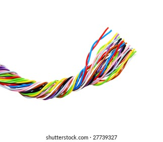 The braided color computer cable isolated on white
