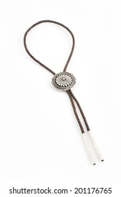 Braided Leather Bolo Tie with Sterling Silver Concho.