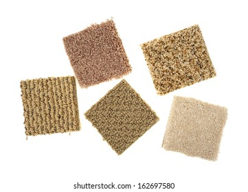 Braided and plush carpet samples on a white background.
