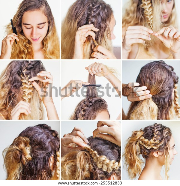 Braided Updo Tutorial Curly Hair By Stock Photo Edit Now 255512833