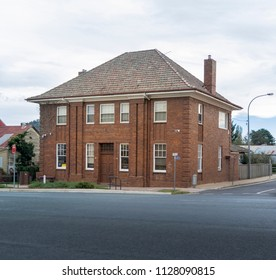 BRAIDWOOD, NEW SOUTH WALES, AUSTRALIA, 16TH APRIL 2018 - Red brick bank building in the town of Braidwood, New South Wales, Australia