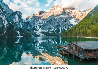 Braies, Italy - April 10, 2018: Lago di Braies with reflections.