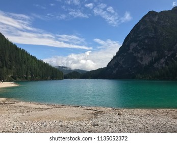 Braies lake. Background with sky and clouds.