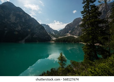 The Braies Lake and Croda del Becco, Pragser Wildsee, Prags, Pustertal, Bolzano, Trentino Alto Adige, Italy