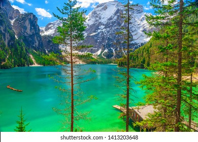 Braies Lake in Dolomites mountains, Sudtirol, Italy. Beautiful Alpine lake Lago di Braies in sunny day