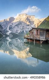 Braies Lake, Dolomites, Trentino Alto Adige, Italy