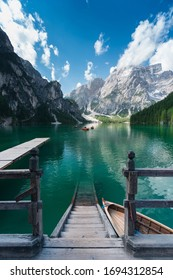 Braies Lake, Dolomiti, Italy. Morning shots of this famous mountain scenery located in Sudtirol.