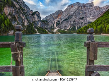 Braies lake and Dolomiti on sunrise, Trentino Alto Adige, Italy