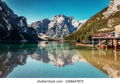 Braies lake during sunrise, popular Touristic Place in Dolomites Alps. Italy Picture of wild area Europe. Wonderful nature Landscape