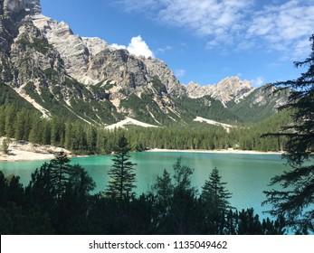 Braies lake in Italy. Natural park