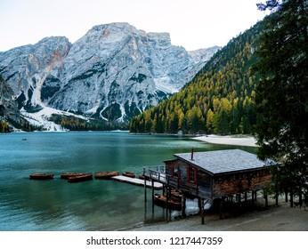 Braies Lake (Lago di Braies, Pragser Wildse) in Dolomites mountains, Sudtirol, Italy.